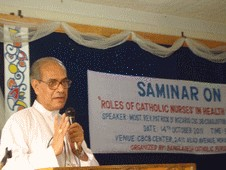 Holy Cross coadjutor Archbishop Patrick D'Rozario addresses Catholic nurses at a seminar in Dhaka, Bangladesh