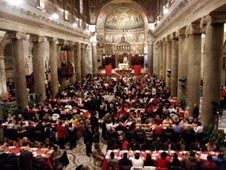 The Basilica of St. Maria in Trastevere filled with people enjoying Christmas lunch last year. (CNS/Courtesty Sant'Egidio Community)