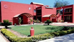 The front view of Centre for Culture and Development, Vadodara