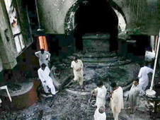Church compound destroyed by muslim rioters in pakistan