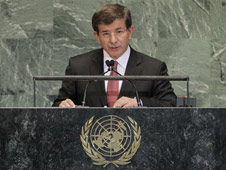 Turkish Foreign Minister Ahmet Davutoglu addresses the 67th United Nations General Assembly at the U.N. Headquarters in New York, September 28, 2012