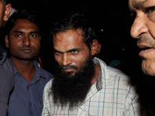 A suspected Indian Mujahideen terrorist being taken to Safdarjung Hospital for medical check-up in New Delhi on Friday