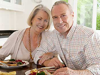 Old couple dining out