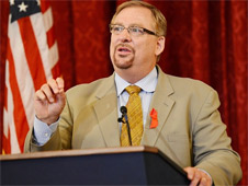 Pastor Rick Warren delivering a speech at the Russell Senate Office Building