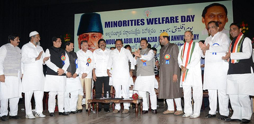 Chief Minister of Andhra Pradesh, N. Kiran Kumar Reddy, at the function to celebrate Minorities Welfare Day