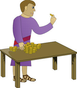 A rich young man counting his money