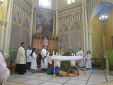 Mass being celebrated in a church in the Holy Land