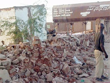 The wreckage of a demolished church and its medical clinic in Khartoum