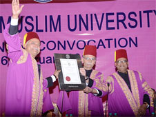 Aligarh Muslim Former Indian Hockey captain Zafar Iqbal receiving honorary doctorate at the University at its 60th Annual Convocation