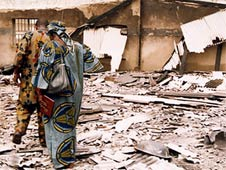 A destroyed church building in Kano