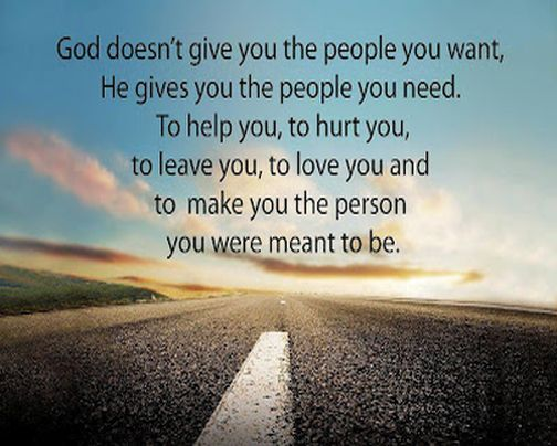 God gives what you need