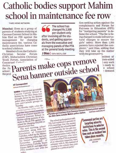 catholic bodies support Mahim school