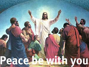 Jesus appearing to his friends