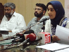Fauzia Siddiqui, sister of Dr Aafia Siddiqui, at a press conference in Lahore