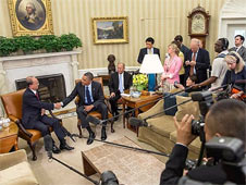 Thein Sein and Barack Obama met at the White House last month