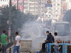 A barricade set up by protesters on Taksim Square