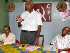 CPI leader D Raja speaking during a party meet