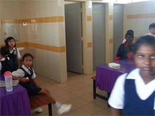 Children forced to eat in bathroom