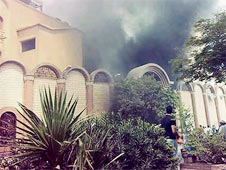 A church in Sohag set ablaze by enraged Morsi supporters