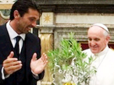 Pope Francis met members of the Italy and Argentina football
