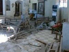 Churches were vandalised, looted and graffitied with insults against Christianity