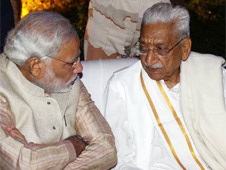 File photo of Ashok Singhal with Narendra Modi