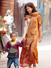 Adopted child from Nepal with his mother.