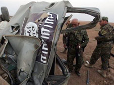 ISIS vehicle destroyed by a US airstrike