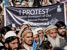 Widespread protests about the depiction of the Prophet Muhammad